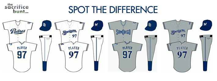 Padres jerseys Brewers Jerseys - Spot the difference